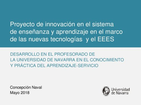 Presentación Concepción Naval Durán - II Simposio internacional sobre aprendizaxe-servizo na Universidade: coidando o aprendizaxe e o capital social dos estudantes